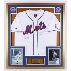 "Nolan Ryan Signed New York Mets 32x36 Custom Framed Jersey Inscribed ""1969 World Champions""  ""Hall o"