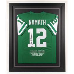Joe Namath Signed New York Jets 35x43 Custom Framed Career Highlight Stat Jersey (Radtke COA)