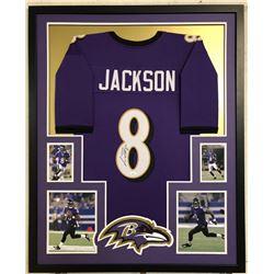 Lamar Jackson Signed Baltimore Ravens 34x42 Custom Framed Jersey (JSA COA)