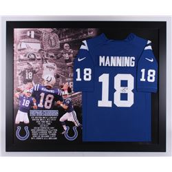 Peyton Manning Signed Indianapolis Colts 35.5x43.5 Custom Framed Jersey (JSA LOA)