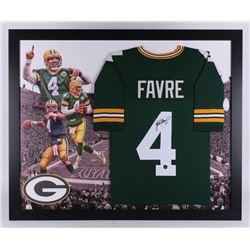 Brett Favre Signed Green Bay Packers 35.5x43.5 Custom Framed Jersey Display (JSA Hologram  Favre COA