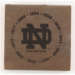 Notre Dame National Champion Years Engraved 7x7x1.5 Authentic Game-Used Bench Slab (Steiner COA)