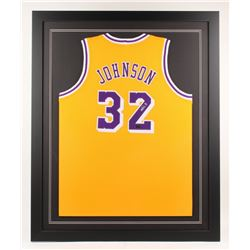 Magic Johnson Signed Los Angeles Lakers 35x43 Custom Framed Jersey (Radtke COA)