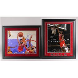 Lot of (2) Signed Chicago Bulls Custom Framed Photo Displays With Nikola Mirotic  Bobby Portis (Schw