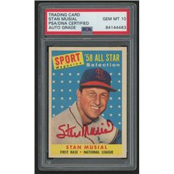 Stan Musial Signed 1958 Topps #476 All-Star (PSA Encapsulated)