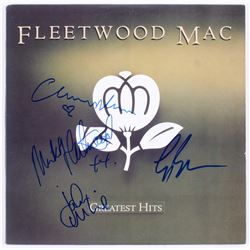 """Fleetwood Mac """"Greatest Hits"""" Vinyl Record Album Cover Band-Signed by (4) with Mick Fleetwood, John"""