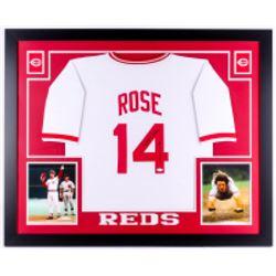"""Pete Rose Signed Cincinnati Reds 35x43 Custom Framed Jersey Inscribed """"4256"""" (JSA Hologram)"""