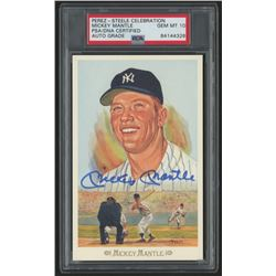 Mickey Mantle Signed LE 1989 Perez-Steele Galleries #28 Postcard (PSA Encapsulated)