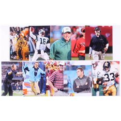 Lot of (10) Signed NFL Coaches 8x10 Photos with Vinny Testaverde, Ron Rivera, Merril Hoge, Jay Grude