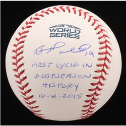 """Brock Holt Signed Official 2018 World Series Baseball Inscribed """"First Cycle In Postseason History 1"""