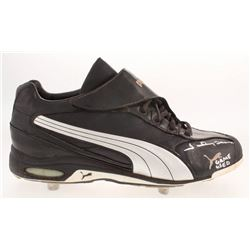 """Johnny Damon Signed Game-Used Puma Baseball Cleat Inscribed """"Game Used"""" (Sports Integrity COA)"""