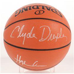 Clyde Drexler  Hakeem Olajuwon Signed NBA Game Ball Series Basketball (Beckett COA)
