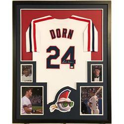 "Corbin Bernsen Signed Major League ""Dorn"" 34x42 Custom Framed Jersey (JSA COA)"