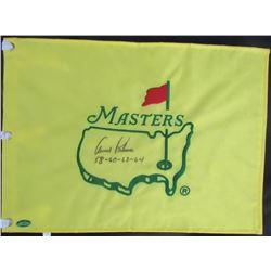 "Arnold Palmer Signed Masters Pin Flag Inscribed ""58-60-62-64"" (Beckett LOA)"