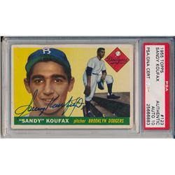 Sandy Koufax Signed 1955 Topps #123 RC (PSA Encapsulated)