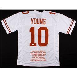 Vince Young Signed Texas Longhorns Career Highlight Stat Jersey (JSA COA)