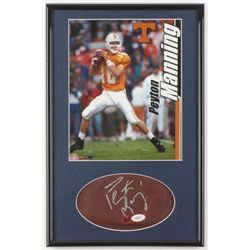 Peyton Manning Signed Tennessee Volunteers 11.25x17.25 Custom Framed Leather Football Cut (JSA COA)