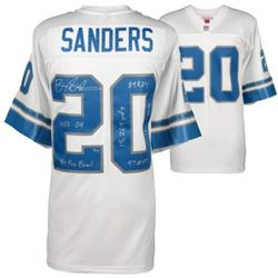 Barry Sanders Signed Lions Mitchell  Ness Limited Edition Jersey with (6) Career Inscriptions (Fanat