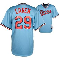 "Rod Carew Signed Los Angeles Angels Majestic Coopesrtown Jersey Inscribed ""HOF 91"" (Fanatics Hologra"