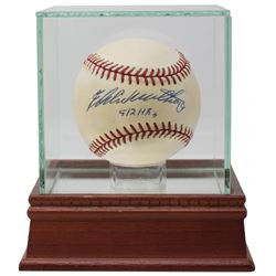 "Eddie Mathews Signed ONL Baseball with Display Case Inscribed ""512 HRs"" (PSA COA)"
