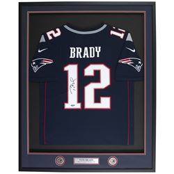 Tom Brady Signed New England Patriots 33x42 Custom Framed Elite On-Field Authentic Jersey (TriStar H