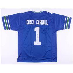 Pete Carroll Signed Seattle Seahawks Throwback Jersey (Beckett COA)