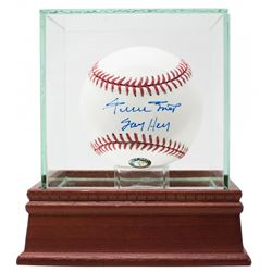 """Willie Mays Signed OML Baseball with Display Case Inscribed """"Say Hey"""" (Mays Hologram)"""