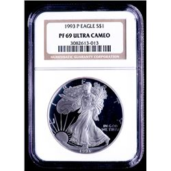 1993-P American Silver Eagle $1 One-Dollar Coin (NGC PF69 Ultra Cameo)