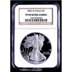 2003-W American Silver Eagle $1 One-Dollar Coin (NGC PF69 Ultra Cameo)