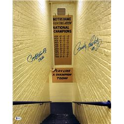 Rudy Ruettiger  Paul Hornung Signed Notre Dame Fighting Irish 16x20 Photo (Beckett COA)