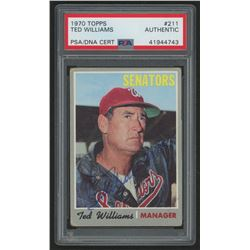 Ted Williams Signed 1970 Topps #211 MG (PSA Encapsulated)