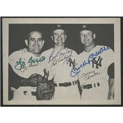 Mickey Mantle, Yogi Berra,  Bob Turley Signed New York Yankees 3.5x4.5 Photo (JSA ALOA)