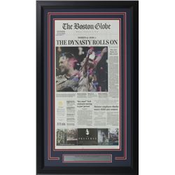 New England Patriots 18x30 Custom Framed February 4th Super Bowl 53 Globe News Paper Clipping