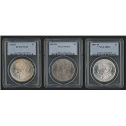 Lot of (3) PCGS Graded (MS63) Morgan Silver Dollars with 1881-S, 1883-O,  1885-O