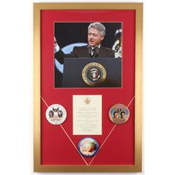 Bill Clinton 18x28 Custom Framed Inauguration Invitation Display with Pins