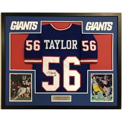 Lawrence Taylor Signed New York Giants 35x43 Custom Framed Jersey (JSA COA)