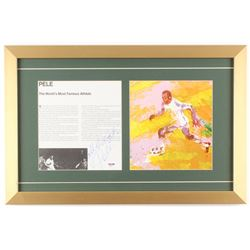 "Pele Signed 14.5x22 Custom Framed Leroy Neiman Print Display Inscribed ""All the Best"" (PSA COA)"