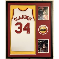 Hakeem Olajuwon Signed Houston Rockets 34x42 Custom Framed Jersey (Beckett COA)