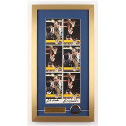 John Wooden  Bill Walton Signed UCLA Bruins 14x26 Custom Framed Postcard Display with Pin (PSA COA)
