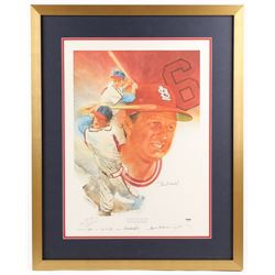 Stan Musial Twice-Signed LE St. Louis Cardinals 25x31 Custom Framed Lithograph Display (PSA COA)