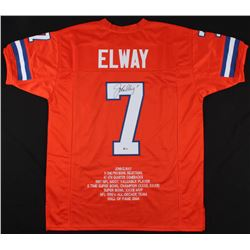 John Elway Signed Denver Broncos Career Highlight Stat Jersey (Beckett COA)