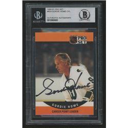 Gordie Howe Signed 1990-91 Pro Set #654 (BGS Encapsulated)