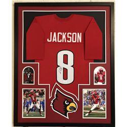 Lamar Jackson Signed Louisville Cardinals 34x42 Custom Framed Jersey (JSA COA)