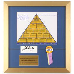 "John Wooden Signed ""The Pyramid of Success"" 16x17 Custom Framed Cut Display with Pin (PSA COA)"
