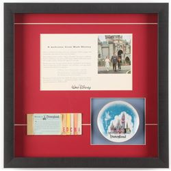 Disneyland 15.75x15.75 Custom Framed Letter Display with Vintage Plate  Tickets