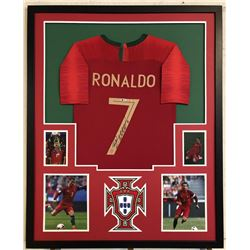 Cristiano Ronaldo Signed Team Portugal 34x42 Custom Framed Jersey (Beckett COA)