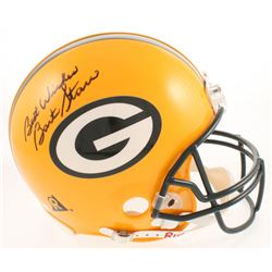 "Brett Favre  Bart Starr Signed Green Bay Packers Full-Size Authentic Helmet Inscribed ""Best Wishes"""