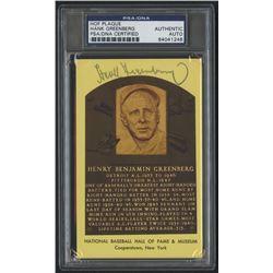 Hank Greenberg Signed Gold Hall of Fame Postcard (PSA Encapsulated)