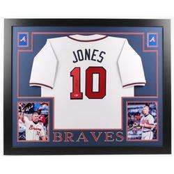 Chipper Jones Signed Atlanta Braves 35x43 Custom Framed Jersey (Beckett COA)