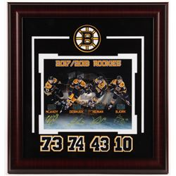 Boston Bruins 2017-2018 Rookies 17.75x19 Custom Framed Photo Display Signed By (4) with Charlie McAv